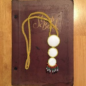Native American Jewelry - Native American Yellow 3 Tier Seed Bead Necklace